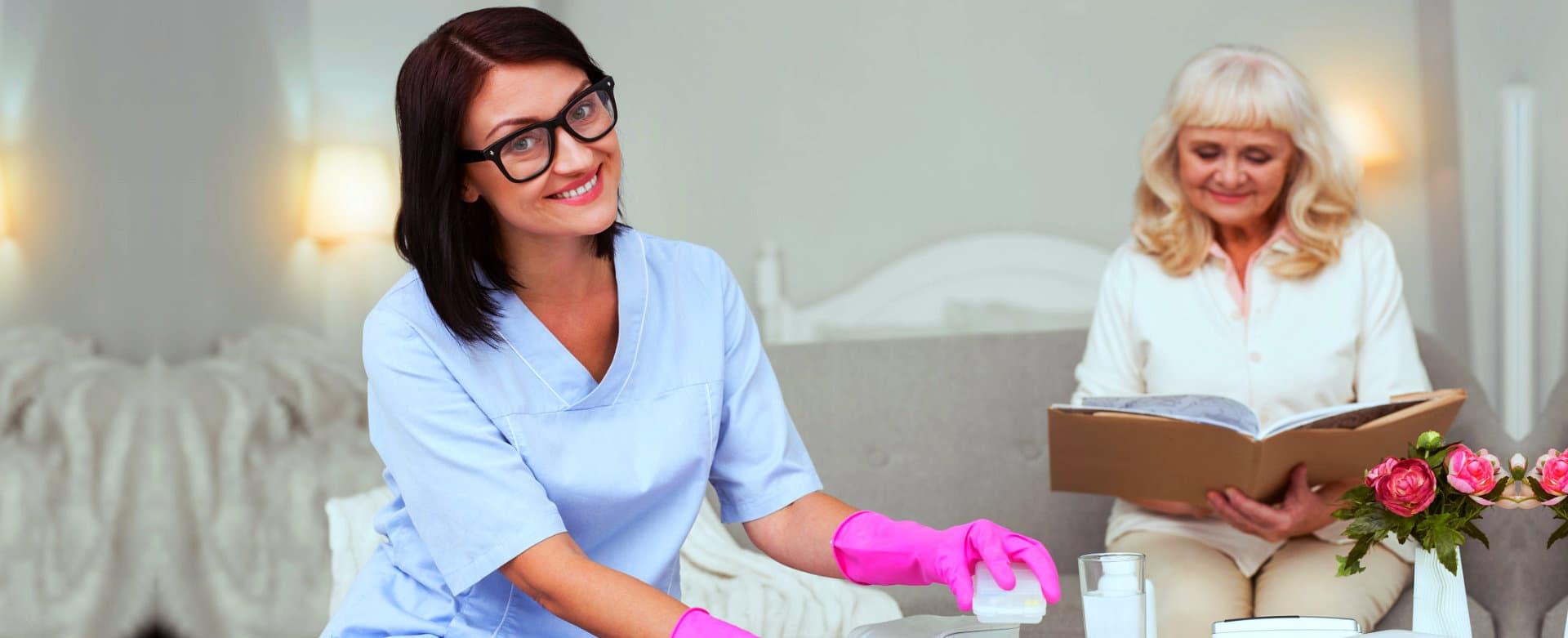female caregiver smiling